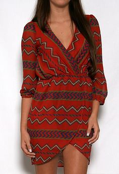 Aztec Print Wrap Dress #privategallery #PGPackingList