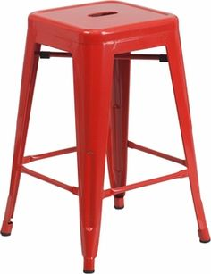 24'' Backless Red Metal Counter Height Stool, CH-31320-24-RED-GG by Flash Furniture | BizChair.com