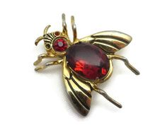 Coro Bug Brooch  Red Rhinestone Jelly Belly by VintageInBloom