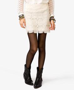 #Forever21                #Skirt                    #Scalloped #Crochet #Mini #Skirt                    Scalloped Crochet Mini Skirt                                                  http://www.seapai.com/product.aspx?PID=110214