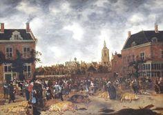 Varkenmarkt in Den Haag door Sybrand van Beest, 1650