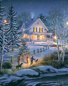 (usa) by Thomas Kinkade born in California. The painter of Light. Christmas Scenes, Noel Christmas, Vintage Christmas Cards, Christmas Pictures, Winter Christmas, Victorian Christmas, Thomas Kinkade Art, Thomas Kinkade Christmas, Kinkade Paintings