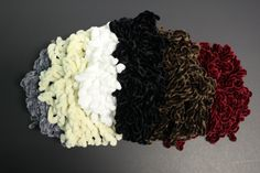 These new and improved, hand-made volumizing scrunchies create the perfect amount of volume without looking unnatural! Soft and fluffy fibers for extra comfort. Scrunchies, Kinky, Knots, Crochet Necklace, Fiber, The Originals, Create, Handmade, Hand Made