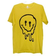 Sick Melted sMiLeY fAcE Tie Dye T-Shirt UNISEX sizes S, M, L, XL ❤ liked on Polyvore featuring tops, t-shirts, tie-dye tops, yellow top, tie dye t shirts, unisex tops and tie die t shirts