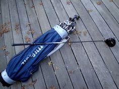 Vintage Navy Blue Vinyl Wilson USA Golf Bag with 13 by AnnasDream