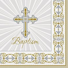 Gold  Silver Radiant Cross Baptism Party Napkins 16ct * Read more reviews of the product by visiting the link on the image.
