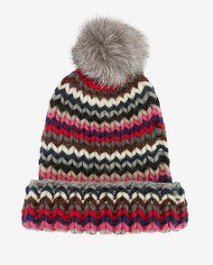 Eugenia Kim Rain Chevron Knit Fur Pom Hat: A fox fur pom-pom lends a luxe touch to the chevron knit hat.  Fabric: 100% wool Natural fox fox; Origin, Denmark.    Made in ...