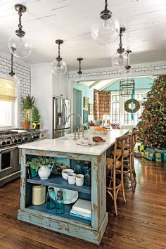 Turquoise and white kitchen