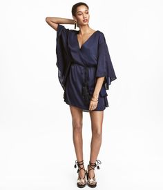 Check this out! Short satin dress with a V-neck at front, wide butterfly sleeves, and a narrow tie at waist. Unlined. - Visit hm.com to see more.