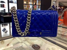 Presenting the upcoming Chanel Patent Boy Bags for the Cruise 2015 Collection. The boy is made in a very shiny patent leather in candy colors with Chanel Dubai, Candy Colors, Chanel Boy Bag, Submissive, Patent Leather, Cruise, Shoulder Bag, Shoe Bag, High Fashion