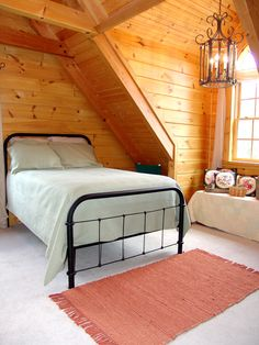 Log Home Bedroom, Bedroom Decor, Loft Bedrooms, Log Cabins, Beautiful Bedrooms, Building Materials, Log Homes, Simple Style, Bunk Beds