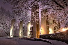 Virginia Tech Pylons on the first snow of the season. #virginiatech #hokies #winter (Photo by Peter Means)