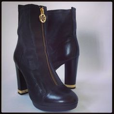 Tory Burch black leather front zip booties
