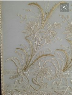 Whitework embroidery by Mihrican Kaya,Ankara, Turkey bir İngiliz el… Blackwork Embroidery, Embroidery Needles, White Embroidery, Floral Embroidery, Embroidery Patterns, Hand Embroidery, Machine Embroidery, Drawn Thread, Contemporary Embroidery