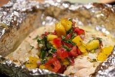 grilled lake erie walleye in foil with mango salsa (any white fish works!)