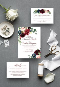 Excited to share the latest addition to our collectio: Burgundy and Navy Floral Wedding Invitation http://etsy.me/2Fo9nHh