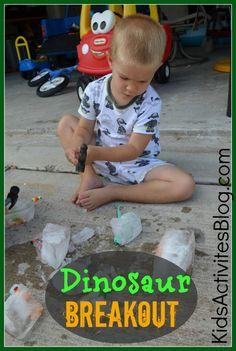 Motricité + Jeu sensoriel marteau + jouets + glace L'enfant doit casser la glace ou l'observer fondre pour retrouver les jouets prisonniers