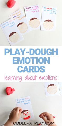 These Play-dough Emotion Cards with Bible Verses are a creative way to familiarize with and learn about emotions.Toddlers are all about emotions. Playdough Activities, Educational Activities For Kids, Autism Activities, Outdoor Activities For Kids, Speech Therapy Activities, Preschool Activities, Kids Learning, Play Therapy, Feelings Preschool