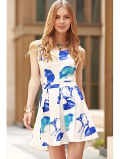 Cut Out Round Collar Flower Print Dress - BLUE AND WHITE S