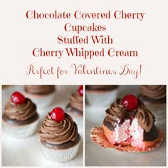 Chocolate Covered Cherry Cupcakes stuffed with cherry whipped cream