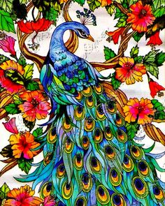 Stained Glass Peacock Fine Art Print 3 for by ChezLorraines