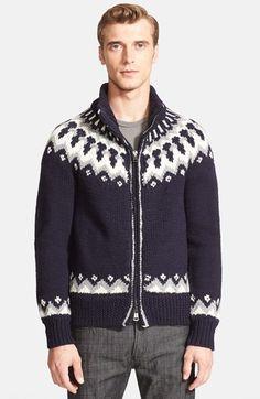 Moncler Chunky Jacquard Zip Sweater /cowichan wool sweater