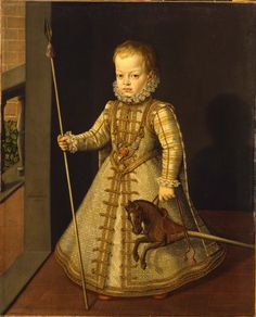 Wonderful hobby horse, spear and protective medals around his neck  Alonso Sanchez  Coello (c. 1532-1588)  Portrait of Don Diego, Son of  Philip II of Spain  Oil on canvas - 108 x 88.2 cm  Vienna, Liechtenstein Museum