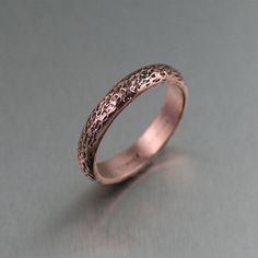 Handmade Designer Jewelry • 4mm Texturized Copper Band Ring on Etsy