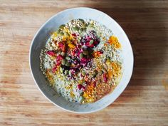 // sprouted buckwheat and coconut yogurt breakfast bowl