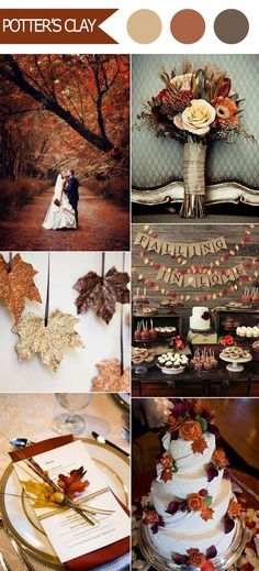 rustic fall wedding color ideas from Pantone: Potter's Clay
