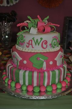 Pink and green graduation cake - This cake was for my daughter's graduation from high school.  She loves pink and green as well as monograms.