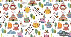 Owls Illustration - Teepee - Surface Pattern Design by Inga Wilmink