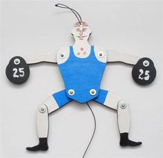 Jumping Jack puppet doll Weightlifter.