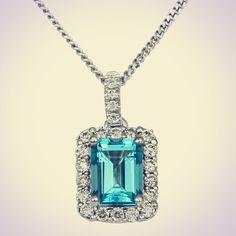 14K Gold Emerald Cut Topaz and Diamond Halo by JewelersEnterprise