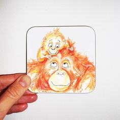 A perfect gift from a little one is this Orangutan coaster to make mum smile while drinking her cuppa. Designed by Doodlesworth, it's also available as a card! www.etsy.com/uk/listing/967188095/cute-orangutan-coaster-mothers-day-gift #etsymcr #mothersday Mothers Day Cards, Orangutan, Cleaning Wipes, Drinking, Coasters, Smile, Children, Artist, Cute
