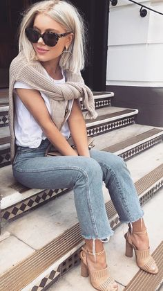 #summer #outfits White Tee + Denim Jeans + Beige Leather Pumps