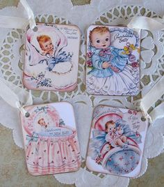 4 Vintage Style  New Baby Greeting Sweet New Baby by saturdayfinds, $3.75