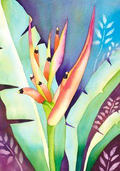 Jocelyn Cheng Art :: Hawaiin artist   Bird of paradise, tropical art, Hawaiian art, floral watercolor
