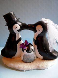 Penguin Love Family Cake Topper