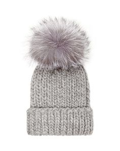 Rain Knit Hat with Fur Pompom, Gray by Eugenia Kim at Neiman Marcus.