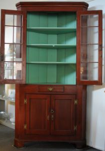 American Cherry Corner Cupboard C. 1800, Sign Of The Whale Antiques Corner  Cupboard,