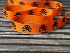 Pirate themed skull and crossbow ribbon for crafts by scratchycat, $1.10