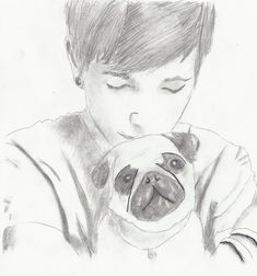 This is such a great drawing of Dan and one of his pugs! Very realistic!!😆😆