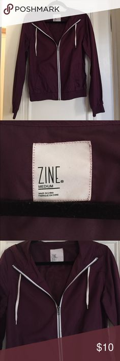 ZINE purple waterproof zip-up hoodie Size MEDIUM, but fits like a SMALL. Great for runs, walks, hikes. Water and wind proof. Zine Clothing Jackets & Coats
