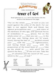Enjoy our printable Bible worksheet: Armor God. Fun for kids to print and learn more about the Bible. Free Sunday School and Homeschool Bible activities. Kids Sunday School Lessons, Sunday School Activities, Church Activities, Religion Activities, Bible Activities For Kids, Sunday School Crafts, Bible Study For Kids, Bible Lessons For Kids, Kids Bible