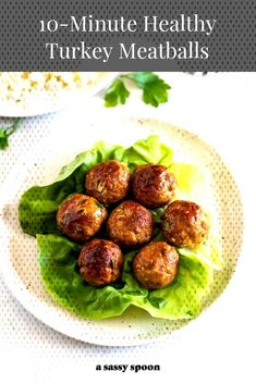 Easy to make moist flavorful and healthy turkey meatballs made with few ingredients and no breadcrumbs. Low carb gluten-free and ready in 10 minutes! Healthy Meals For Two, Good Healthy Recipes, Healthy Cooking, Healthy Eating, Cooking Recipes, Cooking Ideas, Easy Cooking, Keto Recipes, Dinner Recipes