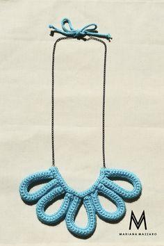 Colar de #crochet Emily Cor: Azul claro  #Handmadeforyou Código do produto: 566ACE Compras ou encomendas e-mail: oimarimazzaro@gmail.com WhatsApp: (18) 99771-0203