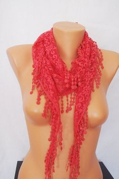 Hot Pink Lace Scarf with lace fringelariat by SpecialFabrics