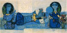 """Nasser Oveisi, «Cinq coupe-Dance"""", fin des années 1960, huile sur toile,  Téhéran Musée d'art contemporain."""