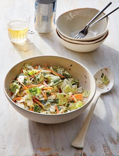 Slaw has come a long way as a side dish. The former mayonnaise-based favorite now boasts lighter ingredients with hearty greens, crunchy vegetables like jicama or carrots, and tantalizing sauce combinations like Thai peanut or tangy mustard. Side Dish Recipes, Veggie Recipes, Side Dishes, Healthy Recipes, Ww Recipes, Summer Recipes, Cooking Light Recipes, Cooking Kale, Cooking Steak